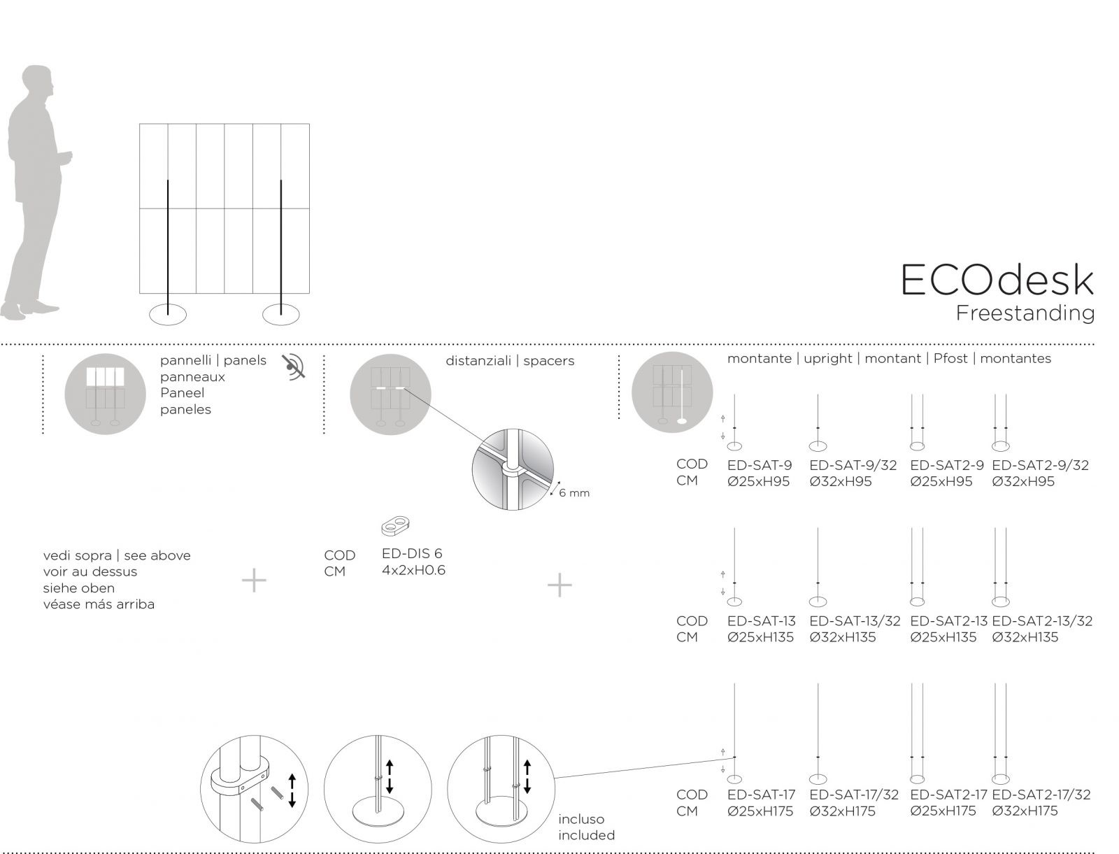 ECOdesk Freestanding Dimensions
