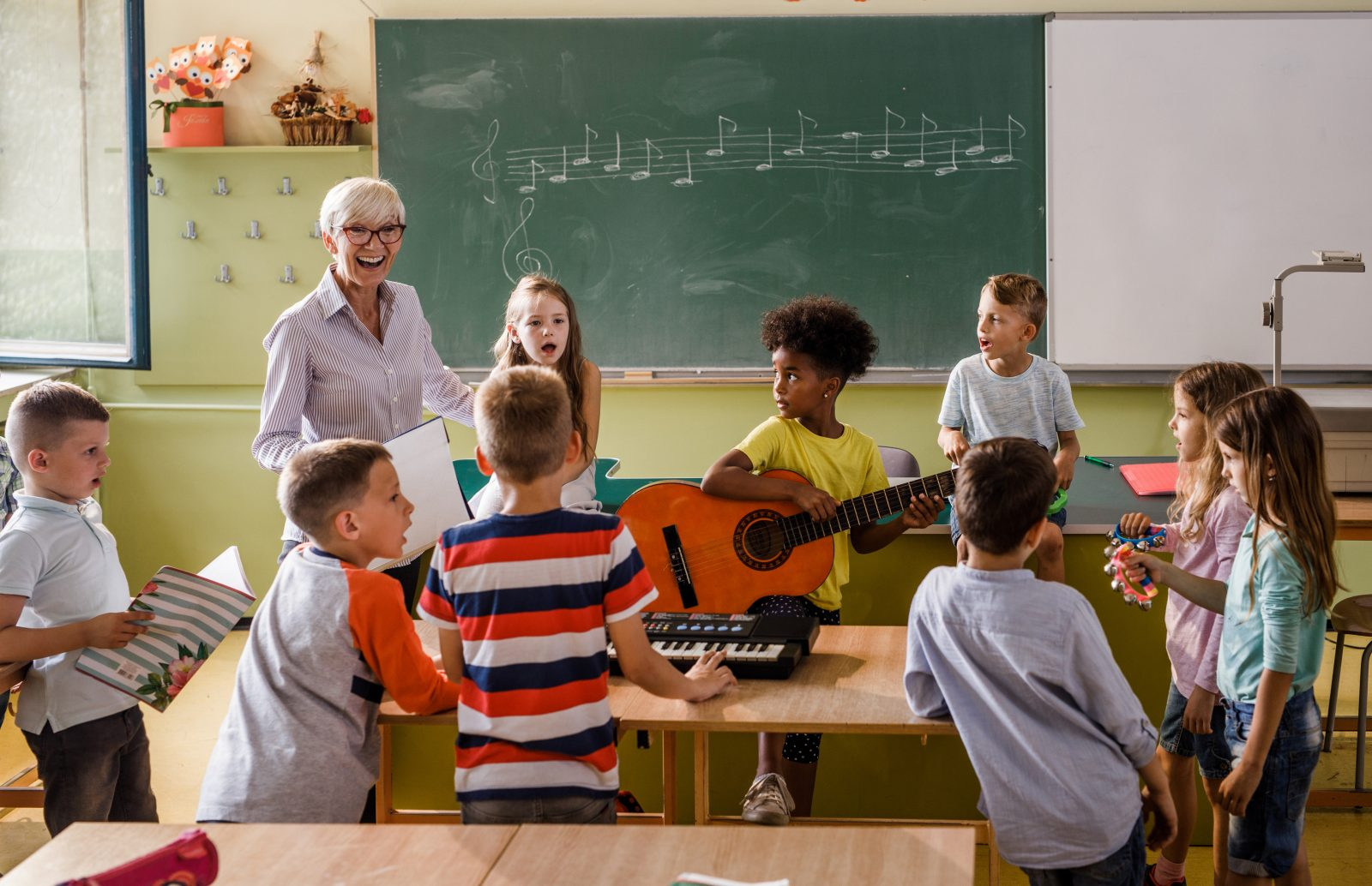 Music class at primary school