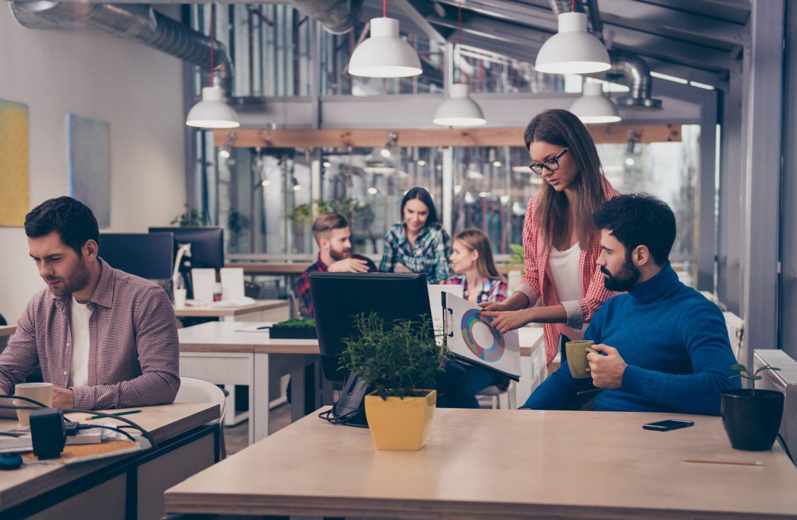 Working in an open plan office